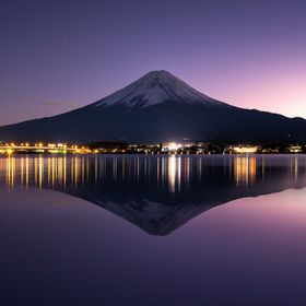 Beautiful twilight of Mt. Fuji with perfect reflection.