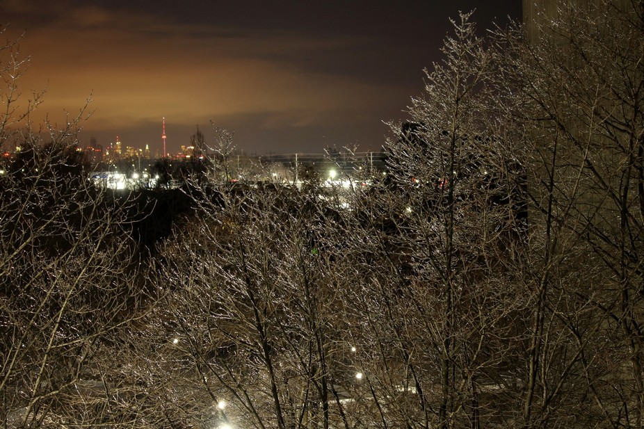Toronto 25 miles away in the distance, trees shimmering in ice