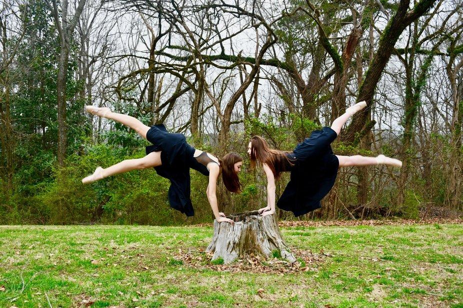 Ballerinas having fun.