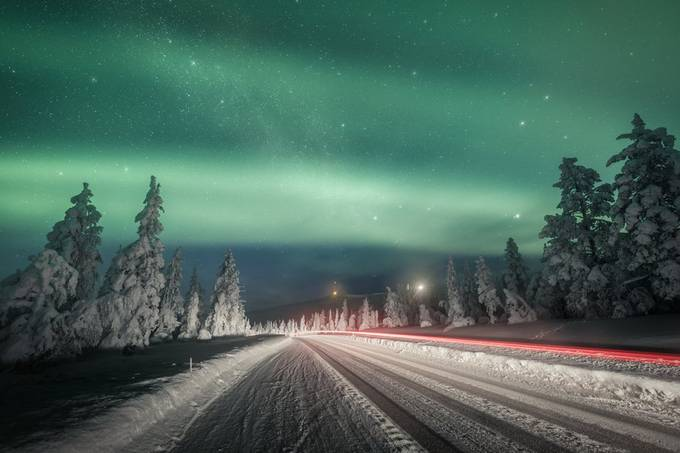 Northern light trails by timoksanen - Winter Roads Photo Contest