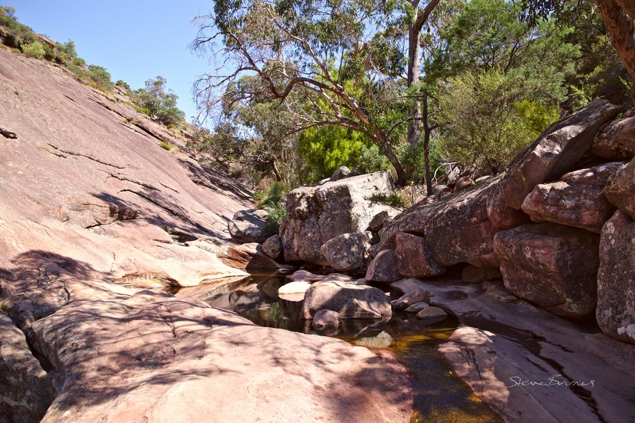 The end of the trail to beautiful  Venus Baths, Halls Gap. The weather has been dry, and the flow is quite slow, but the place is still beautiful.