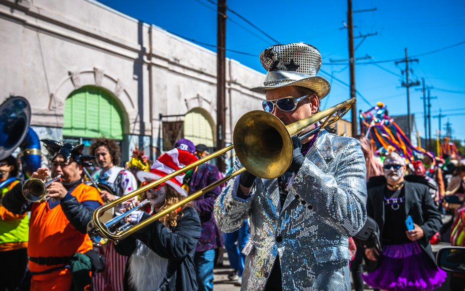 Captured during a walking parade in the Marigny and French Quarter on Mardi Gras day in New Orleans
