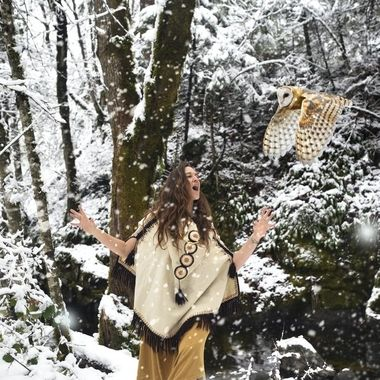 Rotem Totem Dancing with Owl in the Snow