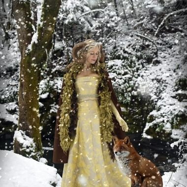Elizabeth with Fox in the Snow