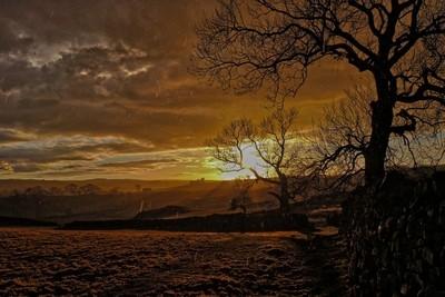 Sunset rain landscape