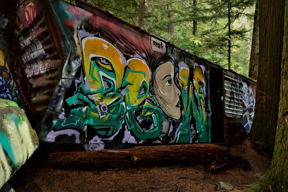 old box car found in the woods in British Columbia