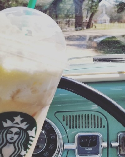 Just a little drive down a country road with my favorite car (1963 VW bug)and favorite drink (Starbucks iced white mocha).