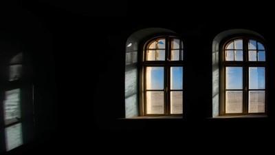 Through the window,