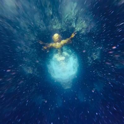 Jesus statue coast reef usa, tiny planet style