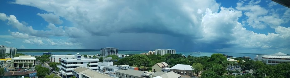 This is a storm brewing over the Darwin Harbour, Northern Territory, Australia.