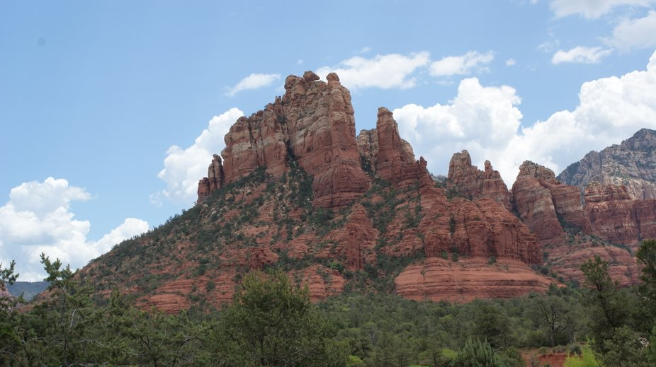 An angle of Sedona AZ from the church of the Red Rocks