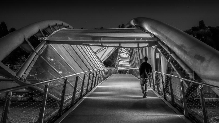 On Helix Pedestrian Bridge in Seattle.