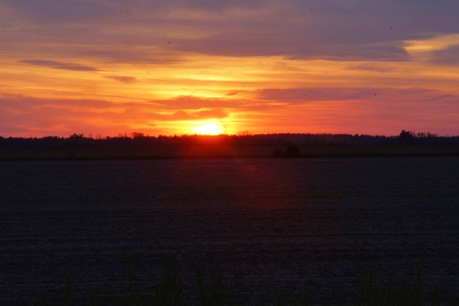 Sun setting over a plowed corn field