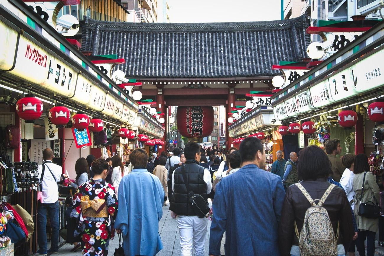 The road to the Asakusa shrine, filled with markets and delicious street food.
