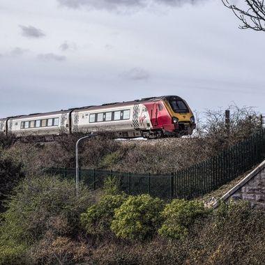 A Virgin Train at Colwyn Bay.