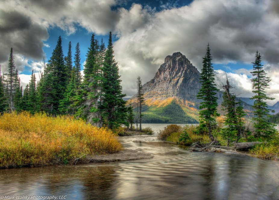 Two medicine lake lies about an hour south of St. Mary, Montana, on the east side of Glacier Nati...