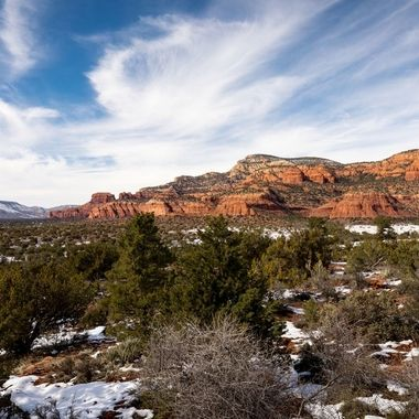 View of the red rocks of Sedona Arizona with snow.