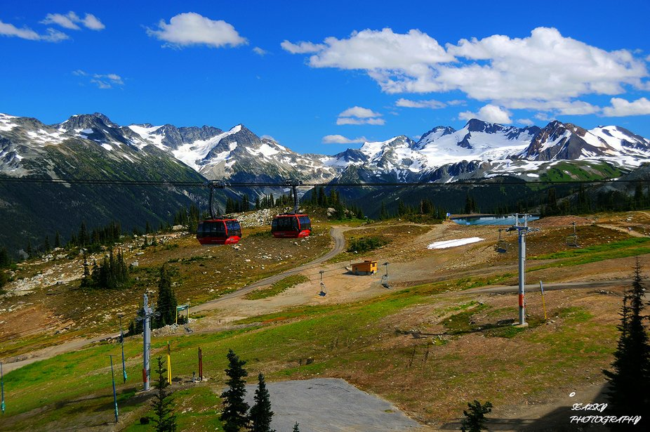 Prior to the 2010 winter Olympics, Canada installed the Peak 2 Peak tram that linked Blackcomb Mt...