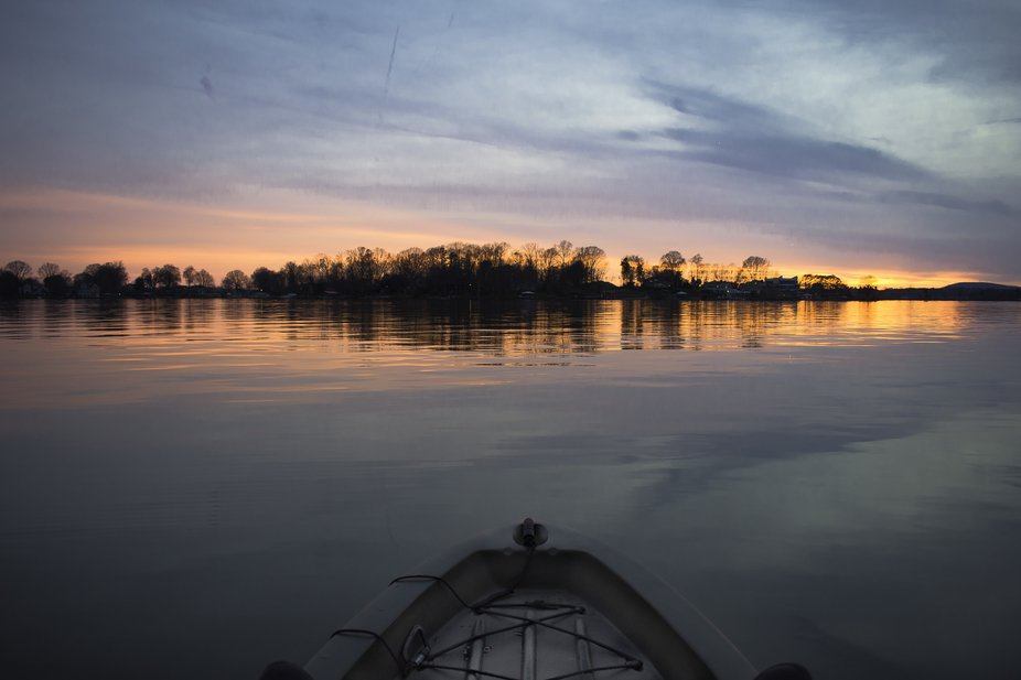 Kayaking on Lake Norman, Sunset was breath taking and the lake was glass!
