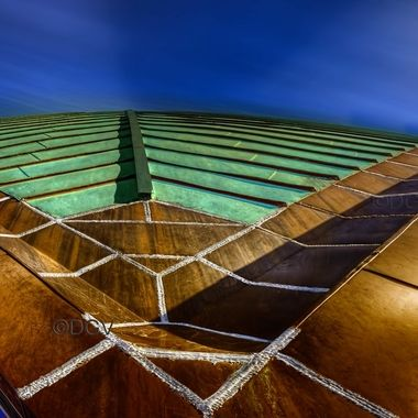 Metal copper roof with batten and shape