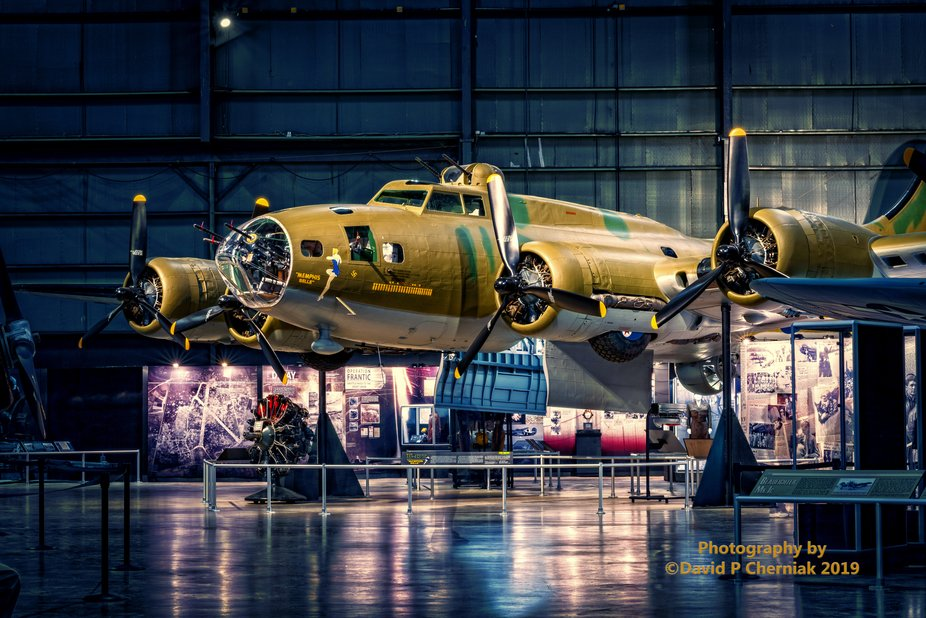 Boeing B-17F Memphis Belle Just Restored New Displays LF across room view USAF Museum (9750) Wrig...