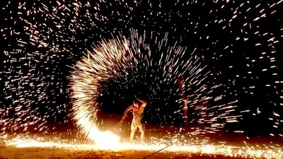 Fire spinning in Thailand
