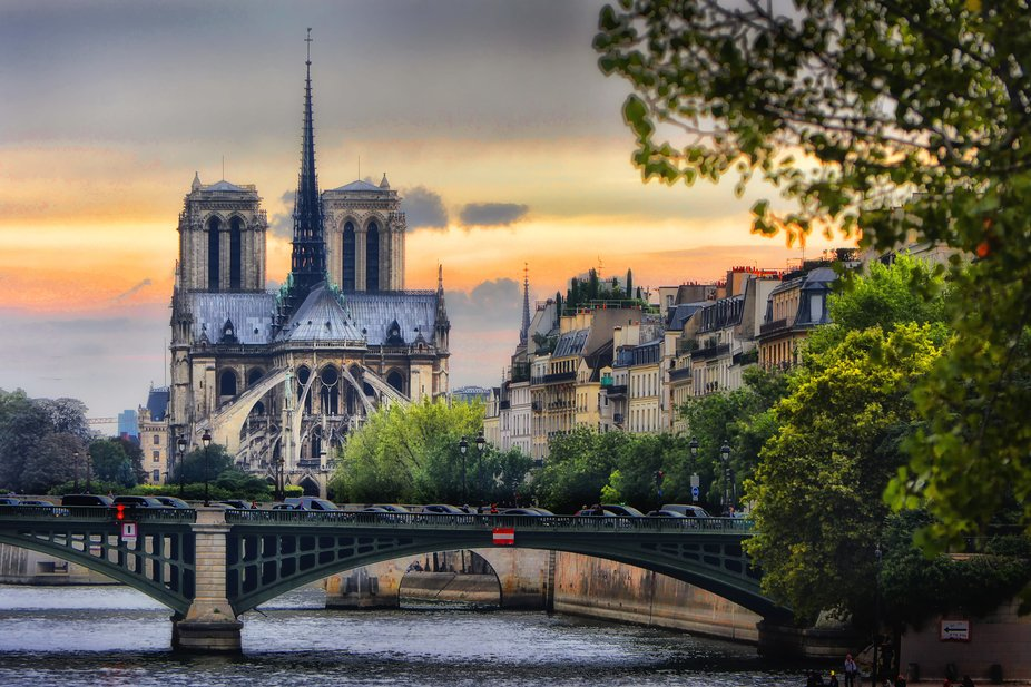 Sunset over the Seine and Notre-Dame in Paris