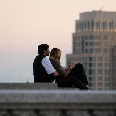 A couple at the Utah State Capitol.