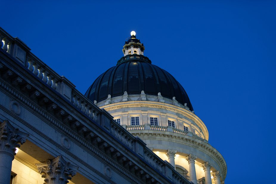This is the Utah State Capitol dome at sunset.