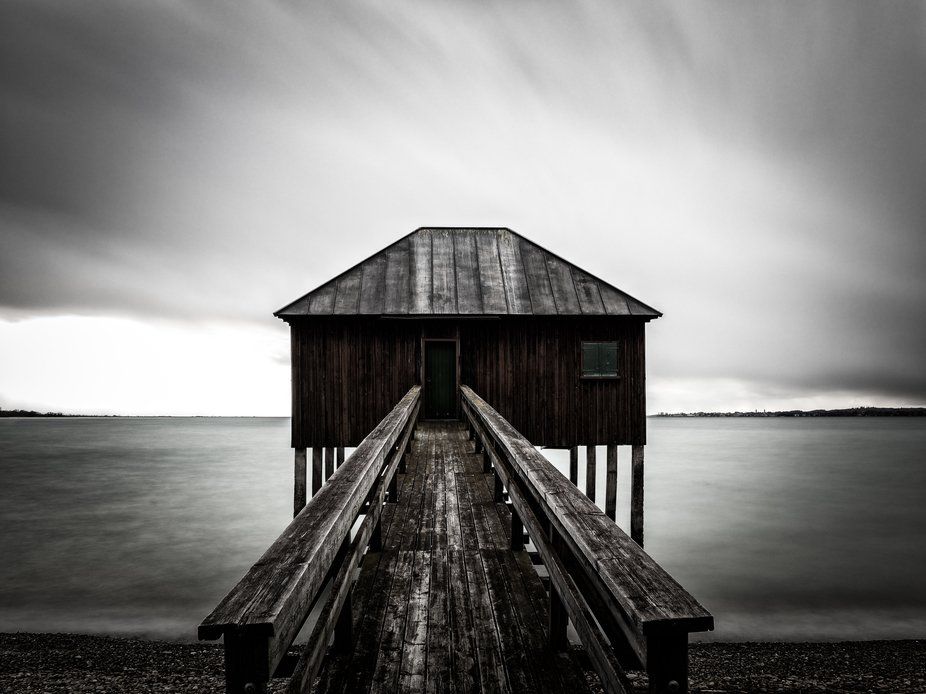 Boathouse along the Shores of Lake Constance in Bregenz, Austria.
