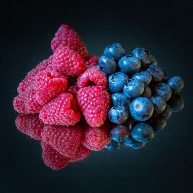 red and blue fruit