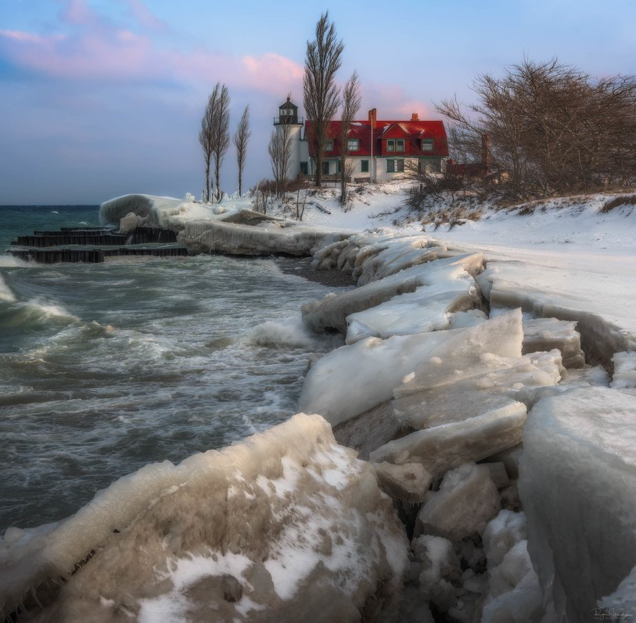 Sunrise with Betsie. The spray from Lake Michigan sure made me into an icicle this morning.  2 sh...