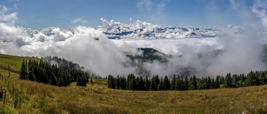 summer landscape above the town of Lucerne, Switzerland