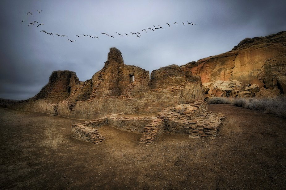 Chaco Cultural National Historical Park is a concentration of pueblos dating from AD 850-1200.  W...