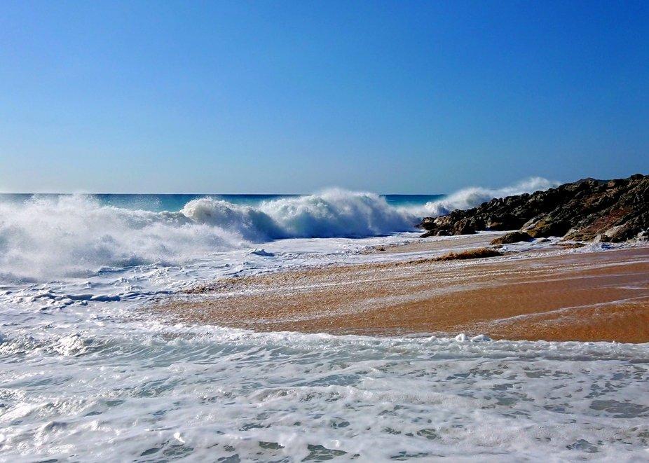 Waves crashing Mitchell rock
