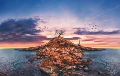 Rock island in Saronikos Greece