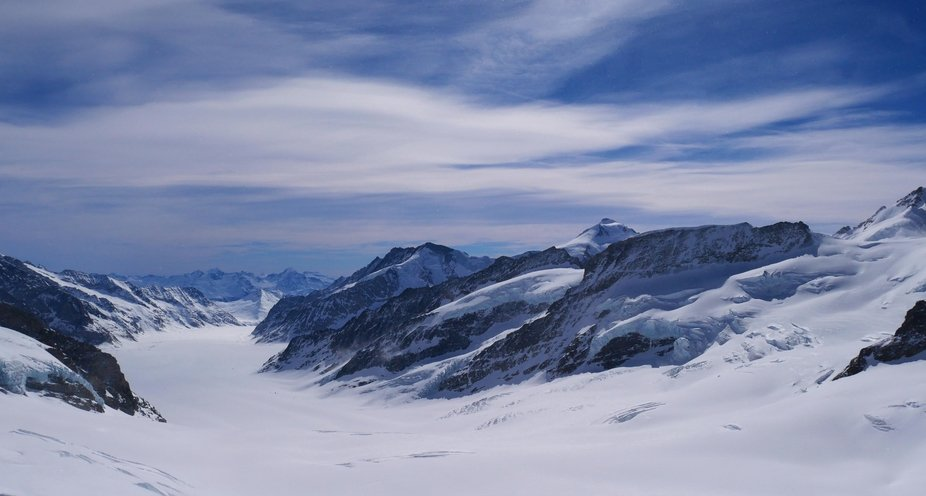 A cold day at the Jungfraujoch in the Swiss Alps, 3,454 m above sea level makes you feel very sma...