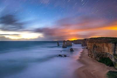 Watching the sunset at the 12 apostles.