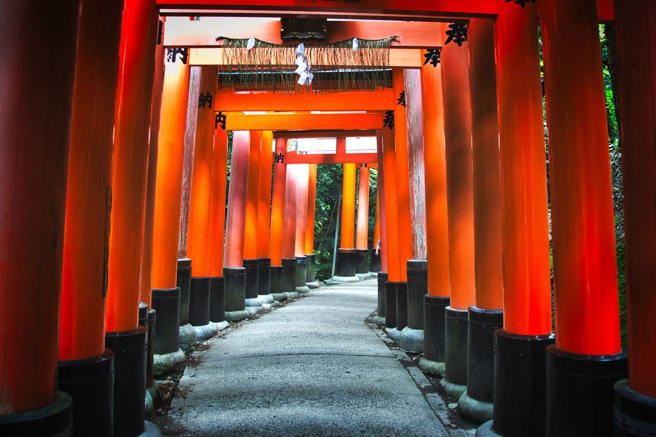 The highlight of the Fushimi Inari-taisha shrine is the rows of torii gates, known as Senbon torii. The custom to donate a torii started to spread since the Edo period (1603 – 1868) to get a wish to become true or to thank for a wish that became true. Along the main path there are around 1,000 torii gates.
