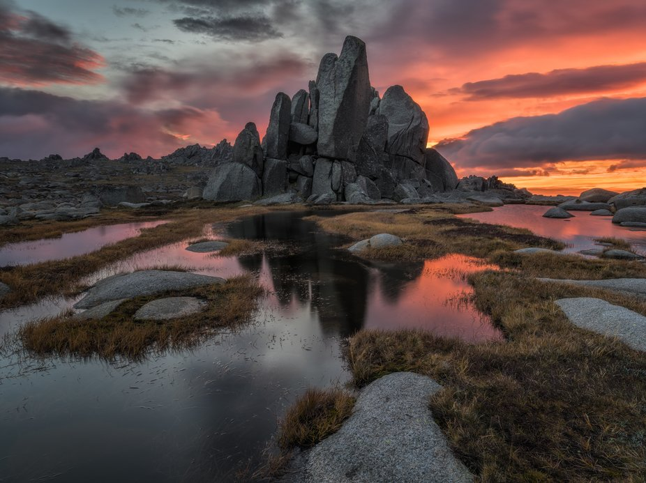 This was one of the most striking alpine sunrises that I have witnessed and despite cold and wind...