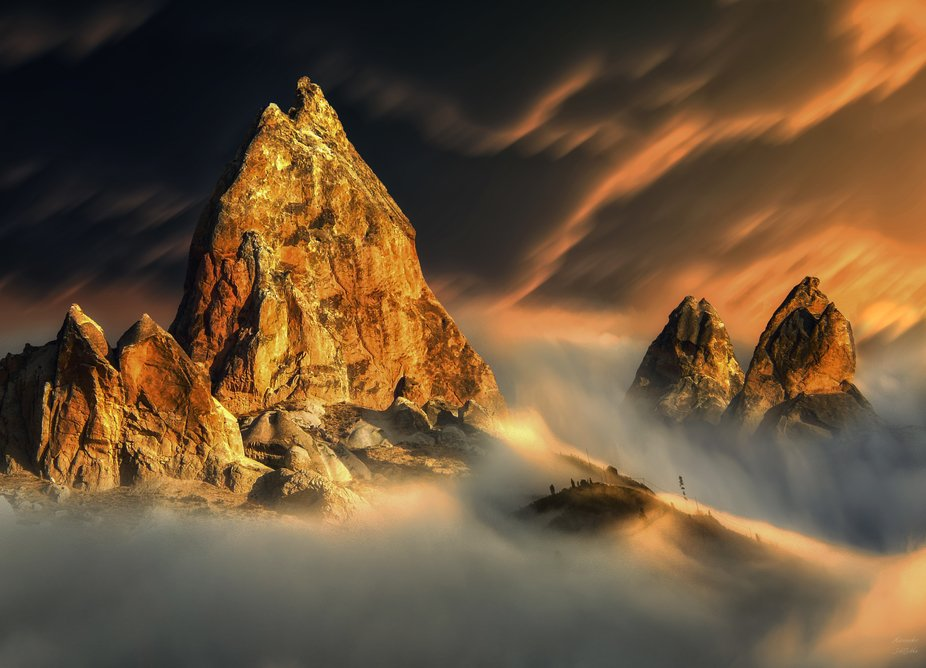 Landscape at sunset a great sky and fog in the valley. Follow me on Viewbug