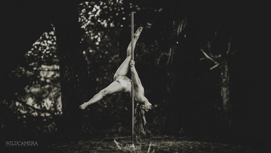 So, we took a practice pole fitness pole into a country park and set up for a few gymnastic shots...