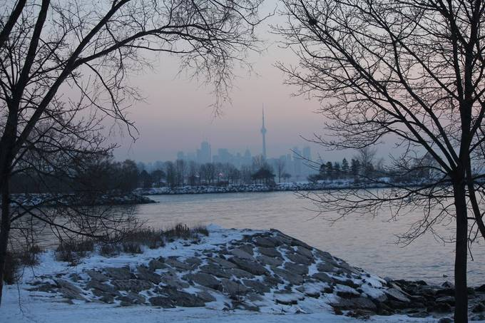 This was taken at sunrise on the winter solstice looking towards Toronto