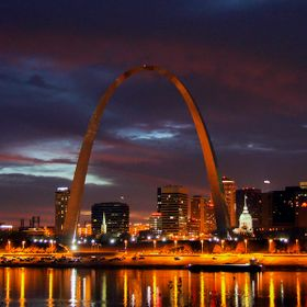 Nighttime shot of the Arch in St Louis Missouri known as the Gateway to the West.