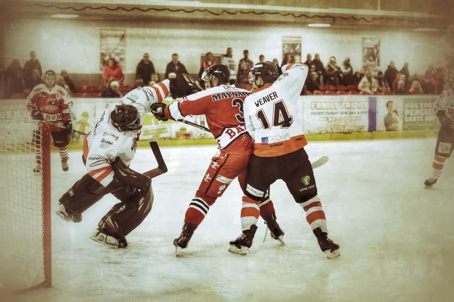 TC Cars Solihull Barons' Marcus Maynard up close and personal with the Telford Tigers&am...