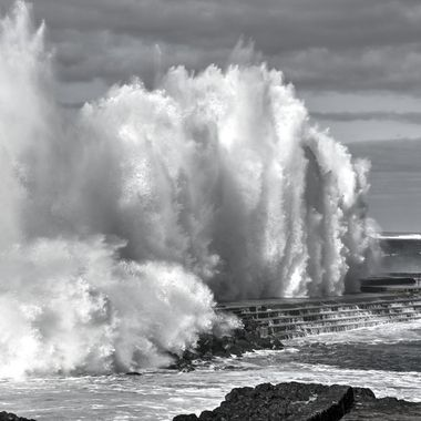 Huge waves hit the coast of Bajamar, Tenerife, Spain.