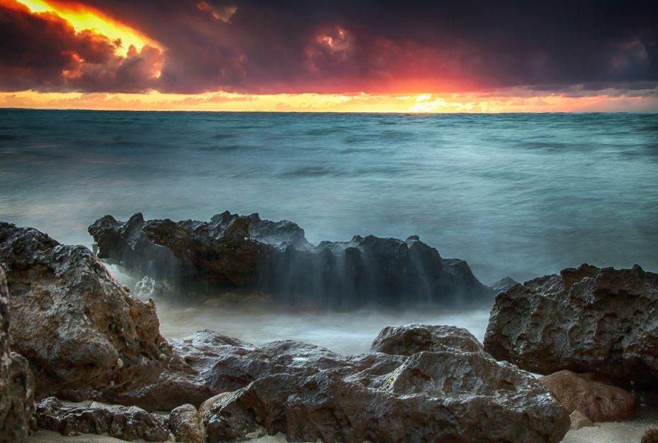 Soft boulder sunset