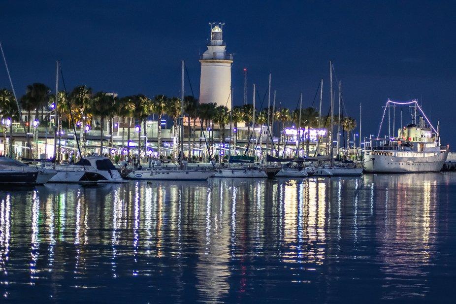 Night harbour,  seaside
