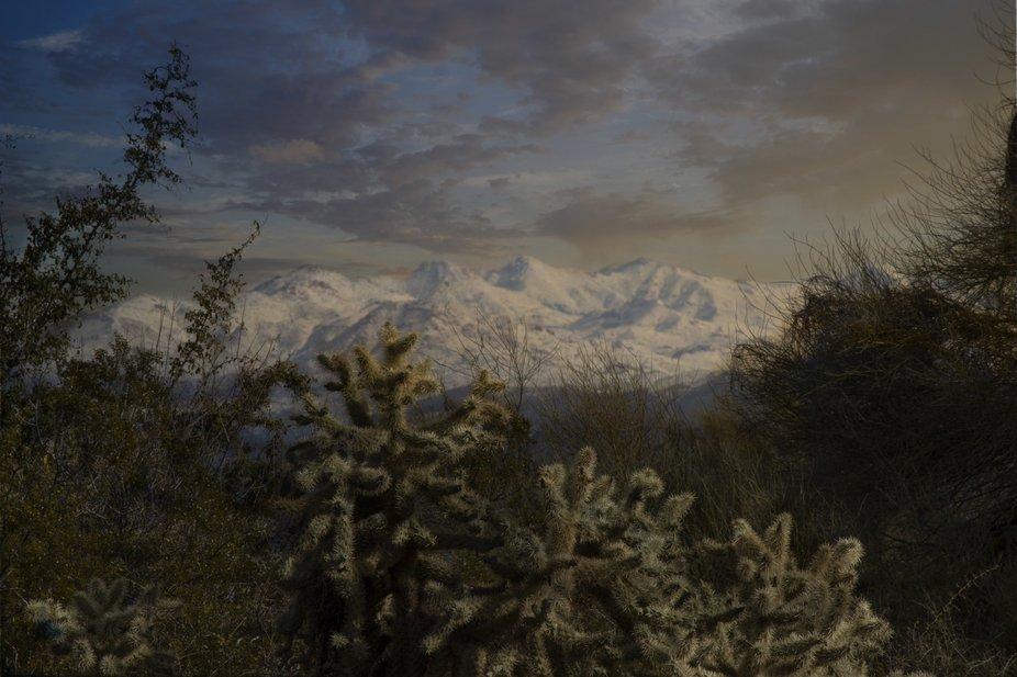 Snow on the mountains near Bulldog Canyon, Arizona Trail
