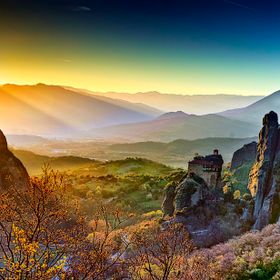 Monastery of Meteora by Sunset in Greece.